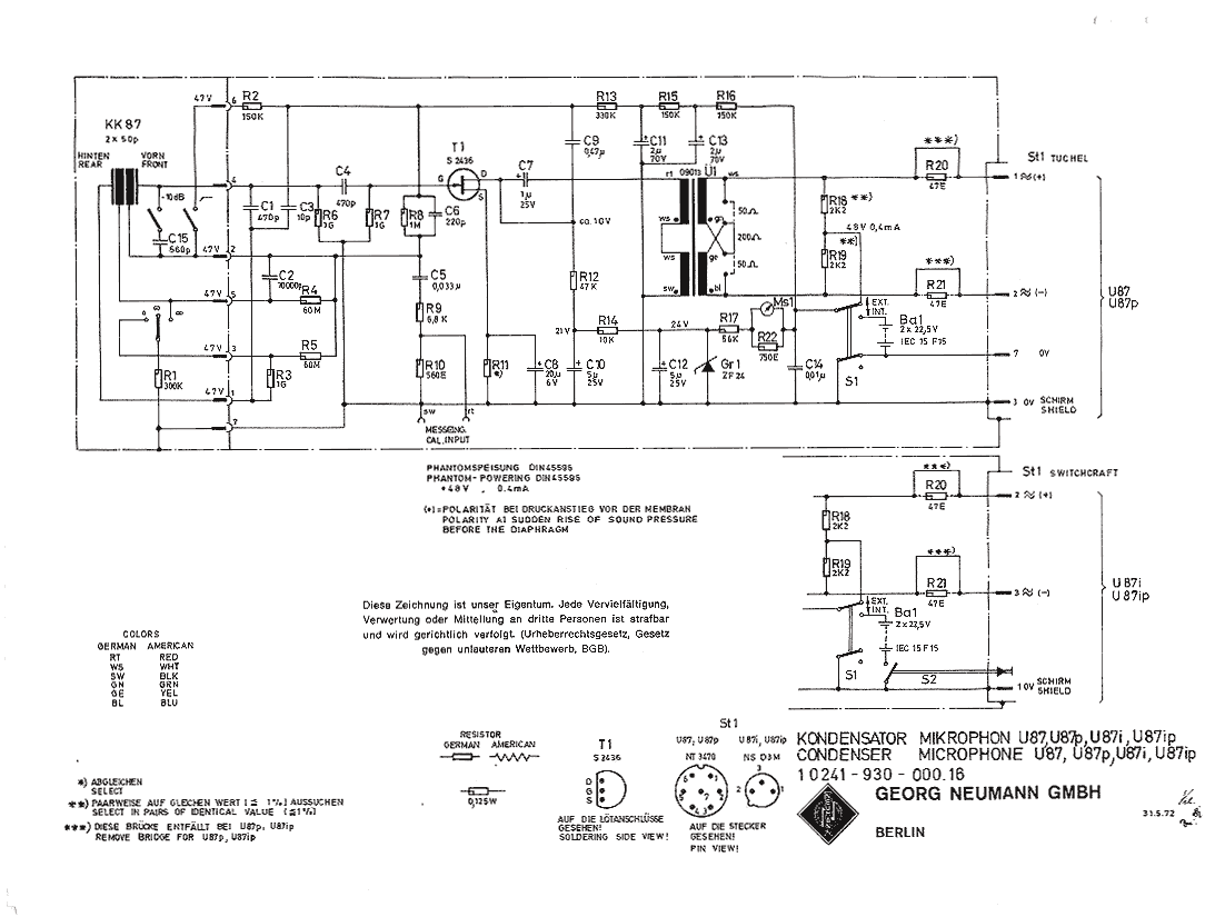 Neumann U 87 Pin Microphone Wiring Diagram U87 Circuit Schematic 1972