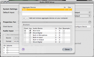 OS X - Audio MIDI Setup - Aggregate Device Editor