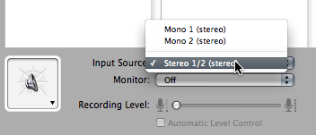 Select the new stereo input device in GarageBand